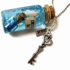 Large Drink Me Glass Vial Necklace Alice In Wonderland Snow Globe