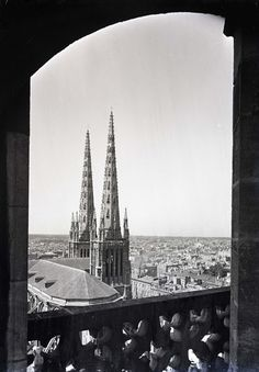 View of church spires from window in Paris 1917