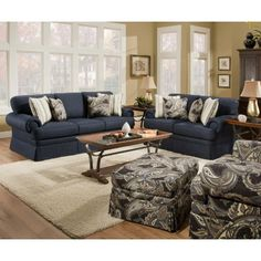 Renaissance Collection Blue Sofa Simmons Beauty Rest 90200B-S MyPriceForYou.com - Affordable furniture
