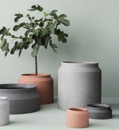 The Ferm LIVING Pot Concrete/Vessel Big was created by the in-house design team for Danish design company ferm LIVING.ferm LIVING was created by Trine Andersen Concrete Plant Pots, Cement Flower Pots, Large Outdoor Planters, Modern Planters, Indoor Outdoor, Outdoor Pots, Potted Plants, Indoor Plants, Pots For Plants