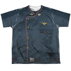 BATTLESTAR GALACTICA/DUTY BLUE-S/S YOUTH POLY CREW-WHITE