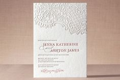 Lace/ old paper Wedding Invitations | lace letterpress invitation white lace letterpress invitation vintage ...