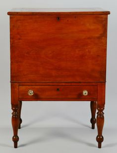 """Middle-Tennessee Sugar Chest. Cherry with Poplar Secondary Wood and Brass Hardware with Cut Glass Pulls. Marshall or Maury Counties, Tennessee (Attributed). Circa 1830. 40"""" x 28"""" x 20-1/2""""."""