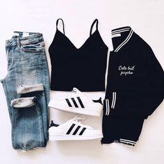 Cute outfits for school that are easy and trendy can be hard to put together sometimes. Laid back or fashionista, we have cute outfits for you! Teen Fashion Outfits, Outfits For Teens, Winter Outfits, Womens Fashion, Fashion Ideas, Style Fashion, Fashion Top, Fashion Black, Ootd Fashion