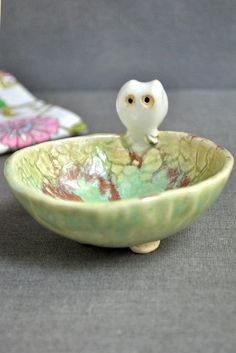 Lee Wolfe Pottery — Ceramic Owl Bowl