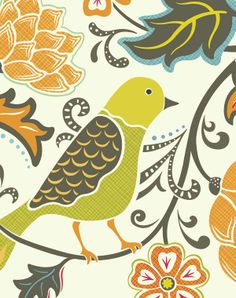 Bird With Flowers Art Print 8 X 10 by pictorialboom on Etsy