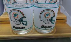 Set of 11 Retro 1970-1980 NFL Miami Dolphins Mobil Oil Frosted Glass Tumblers. #TheCreativeCottage