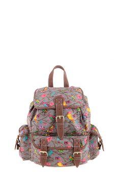 1534106522, L.GREY, Bird print backpack ,Bird print σακίδιο πλάτης