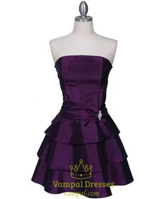 88.00$  Watch here - http://viqns.justgood.pw/vig/item.php?t=o3o8tv24378 - Shimmery Purple Taffeta Strapless Tiered Ruched Cocktail Dress With Rhinestone 88.00$