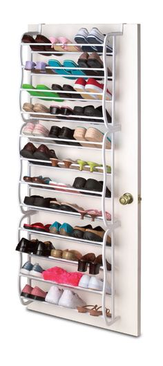 """Features:  -Not designed to hold up under a lot of heat and or heated moisture.  Finish: -White.  Material: -Metal.  Pairs of Shoes Capacity: -36. Generic Specifications:  -Hook size: 2.5"""" W. Dimensio"""