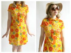90s Neon Yellow Orange Print Dress S/M Club by wildthingvintage