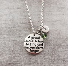 A great coach is hard to find and impossible to forget, Number 1 Coach Gift, Personalized Coach Necklace, Gift for Coach, Cheer Coach, Gifts by SAjolie, $19.25 USD