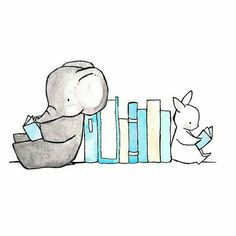 Elephant & Bunny Reading A Book #Nursery