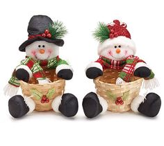 Mr and Mrs Snowman Christmas Plush Snowmen with Basket Adorable Holiday Decor (Set of 2)