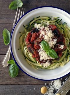 Slow Braised Red Wine Eggplant with Zucchini 'Spaghetti'