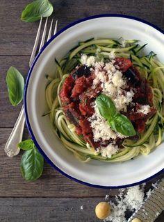 Slow Braised Red Wine Eggplant with Zucchini 'Spaghetti'