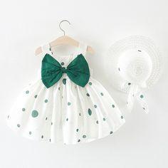 Cheap Price Cute Dot Summer Baby Dress Big Bow Sleeveless Princess Baby Girl Dress with Hat A-Line Cotton Infant Dresses Baby Girl Clothes Baby Summer Dresses, Little Girl Dresses, Girls Dresses, Infant Dresses, Summer Baby, Cute Baby Dresses, Summer Clothes, Short Dresses, Baby Outfits Newborn