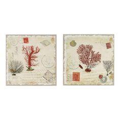 2 toiles coraux peintes main beiges 60 x 60 cm LOPHÉLIA
