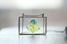 Stained glass pressed flower pendant. #herbarium, #pressedflower, #hydrangea, #realflower, #soldering, #boho, #jewelry, #pendant, #glass, # stainedglass, #trendy, #eco, #vintage
