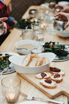 fall dinner party with prosciutto crostini and kale salad