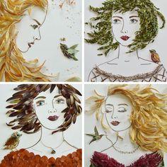 list_2016_01 Autumn Crafts, Nature Crafts, Dry Leaf Art, Leaf Crafts, Pressed Flower Art, Arte Floral, Recycled Art, Art Journal Inspiration, Teaching Art