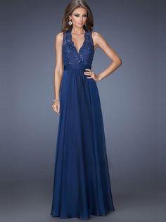 A-Line/Princess V-neck Sleeveless Chiffon Floor-Length Dresses