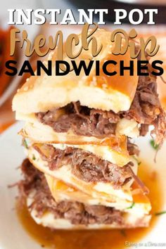 Instant pot french dip sandwiches are super easy in the pressure cooker and take only minutes. The beef is so tender and our family goes crazy over instant pot french dip sandwiches with french onion soup. Try the best instant pot french dip sandwiches easy recipe today. #eatingonadime #instantpotfrenchdipsandwiches Instant Pot Pasta Recipe, Instant Recipes, Instant Pot Dinner Recipes, Onion Soup Recipes, Pot Roast Recipes, Rib Recipes, Roast Beef French Dip, Roast Beef Dip, Vegetarian Food