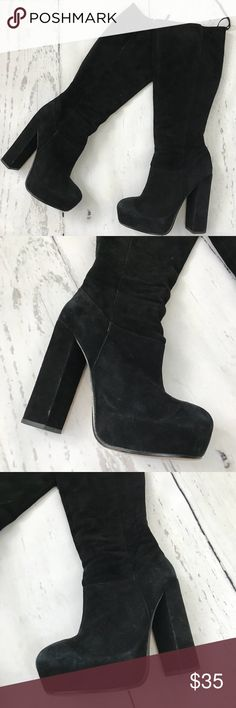 Dolce Vita Knee High Black Boots Size 8 *Please read description * good condition,signs of wear,some scuff marks,inside lining is coming off in some areas on both boots please see pictures ,sold as is,high heeled boots,5+ inch heels,size 8 Dolce Vita Shoes Heeled Boots