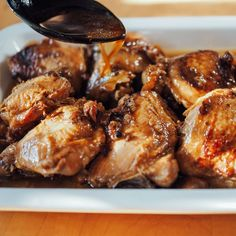 Instant Pot Smart – Chicken Adobo Recipe Main Dishes with chicken thighs, soy sauce, garlic, canola oil, sugar, vinegar, bay leaves, peppercorns, water