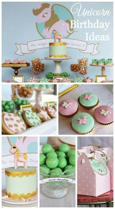 Lovely Unicorn girl birthday filled with so many treats and cookies and a beautiful unicorn birthday cake! See more party ideas at CatchMyParty.com. #girlbirthday