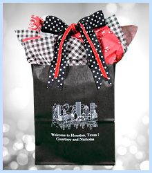 """#weddingwelcomebags #welcomebagsweddings -Planning  a wedding in Houston? Our wedding welcome bags measure 8 x 10 x 5"""" +5"""" more for the handles. These sturdy bags will hold 5 lbs. of goodies. Click www.FavorsYouKeep.com to see all the designs and product options."""