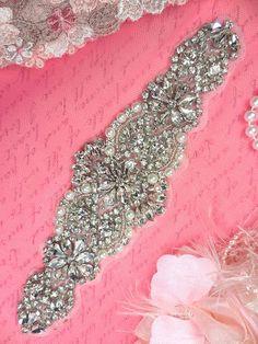 XR228 Bridal Motif Silver Beaded Crystal Clear by gloryshouse, $36.99