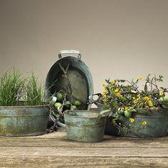 Vintage-Home Topfset Vica 4er Set m.Henkel Zink grün Töpfe antik Pflanztopfset   eBay