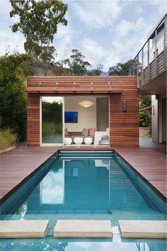 Modern Pool House moderne poolhouse in hout en crépi | bogarden | poolhouse