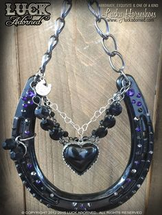 Lucky Horseshoe Black HeartHandmade one of a kind by LuckAdorned
