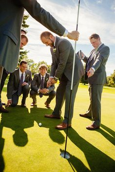 golf course wedding party, fun groomsmen photography, groomsmen golfing, groom golfing Phrené Exquisite Photography | www.phrene.com