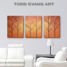 Large Wall Decor Tree Painting of Trees Canvas Wall Art Large