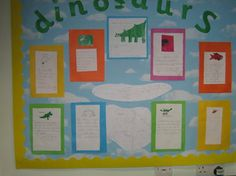 "Colourful dinosaurs on a class ""working wall"".  Primary school children invented their own prehistoric animals."