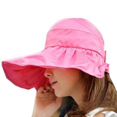 Women's Cotton Folding Large Wide Brim Sun Hat (One Size, Rose Red)