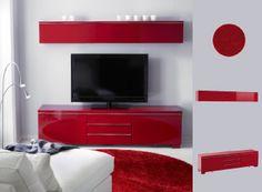 Solución BESTÅ para TV en rojo con lámpara de pie TIVED y alfombra BÄLUM en rojo...me encanta el contraste!