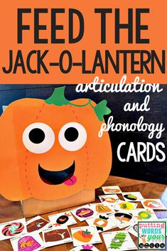 "Feed the Jack-o-Lantern Artic & Phonology Cards!) It's fun to ""feed"" the Jack-o-Lantern Halloween candies! These have articulation and phonological process targets on them. This is a simple but fun activity for speech therapy because it provides articu Preschool Speech Therapy, Speech Therapy Games, Articulation Therapy, Articulation Activities, Speech Activities, Speech Language Pathology, Language Activities, Speech And Language, Play Therapy"