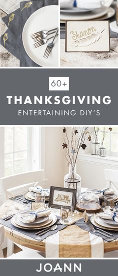 Become the hostess with the mostess this Thanksgiving by checking out this collection of Thanksgiving Entertaining DIY's from JOANN! From table settings to handmade place cards, you're sure to find exactly what you're looking for. Online Craft Store, Craft Stores, Thanksgiving Projects, Place Cards, Table Settings, Entertaining, Table Decorations, Halloween, Christmas