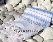 High Quality Hand Woven Turkish Cotton Soft, Bath,Beach,Spa,Pool,Yoga,Travel Towel or Sarong-Sailor Blue Stripes on so pale blue Turkish Bath Towels, Blue Stripes, Sailor, Hand Weaving, Spa, Traditional, Trending Outfits, Beach, Cotton