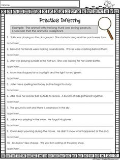 Inferring is a prime example of a critical thinking skill used in classrooms today. Students are asked to read text and analyze it by thinking deeper---way beyond the visual text. This post will provide ideas to help your students learn how to infer. Inference Activities, Reading Comprehension Worksheets, Comprehension Strategies, Reading Resources, Reading Skills, Teaching Reading, Reading Workshop, Guided Reading, Inference