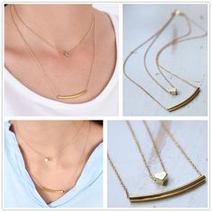 Hot Simple Double Chain Gold GP Tube Layering Sideway Curved Square Bar Necklace