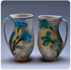 Julia Galloway - Thrown and altered forms with mishima and glaze painting, soda fired porcelain