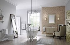 Create instant glamour in the bathroom using wallpaper - But keep it away from wet areas as its not waterproof!
