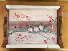 Your place to buy and sell all things handmade Tung Oil Finish, Bird On Branch, Spring Theme, Wood Creations, Antique Metal, White Paints, Wedding Gifts, Birds, Hand Painted