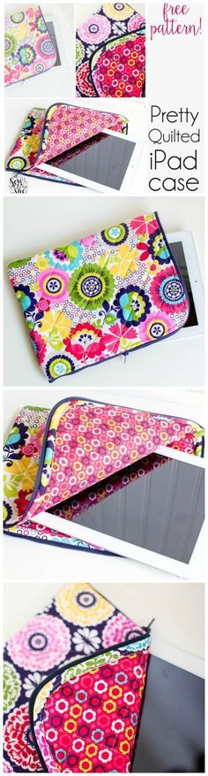 IPad or tablet case – free sewing pattern. Just like the Vera Bradley case I was… IPad or tablet case – free sewing pattern. Just like the Vera Bradley case I was loving – now I can make my own. Diy Sewing Projects, Sewing Hacks, Sewing Tutorials, Sewing Crafts, Bag Tutorials, Sewing Tips, Sewing Ideas, Sewing Patterns Free, Free Sewing
