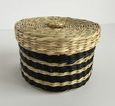 Small Black & Natural Seagrass Basket with Lid